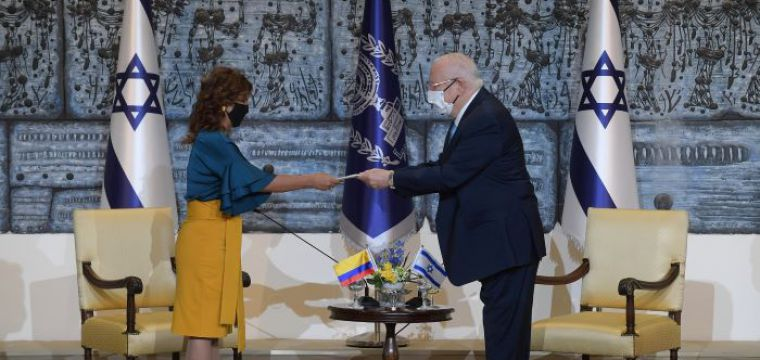 .President Rivlin received diplomatic credentials from the new ambassadors of Colombia, Greece, Denmark , Romania and Argentina to the State of Israel
