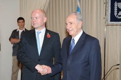 The British Foreign Secretary, William Hague and Israeli President Shimon Peres